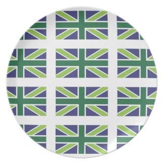 緑の英国国旗の旗 プレート