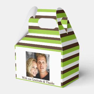 緑の茶色のストライブ柄の写真2の結婚 フェイバーボックス