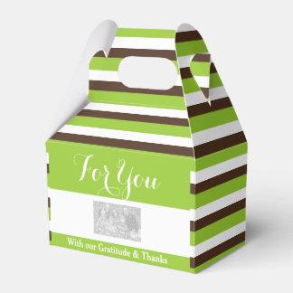 緑の茶色のストライブ柄DIY 3の結婚 フェイバーボックス