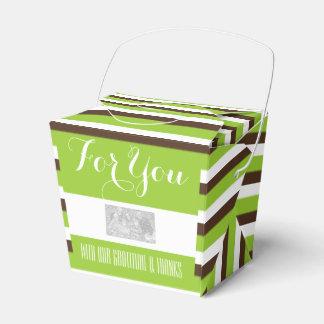 緑の茶色のストライブ柄DIY 4の結婚 フェイバーボックス