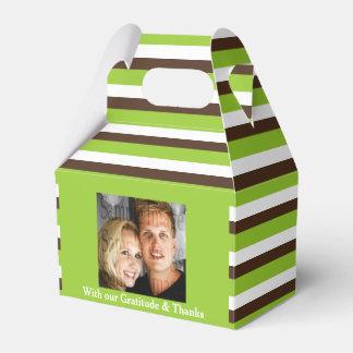 緑の茶色の結婚式の写真2 フェイバーボックス