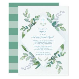 緑の草木の洗礼の招待 カード