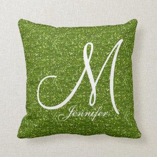 緑の草木の緑のグリッターの白いモノグラムあなたの名前 クッション