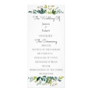 緑の草木の花束の結婚式プログラム ラックカード