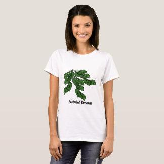 緑の葉のデザインの自然な女性 Tシャツ