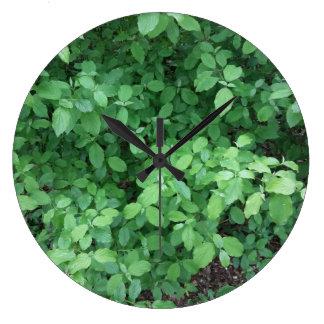 緑の葉のデザイン ラージ壁時計