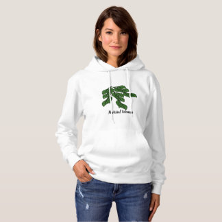 緑の葉を持つ自然な女性はフード付きスウェットシャツで設計します パーカ