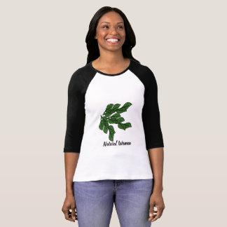 緑の葉を持つ自然な女性はTシャツで設計します Tシャツ