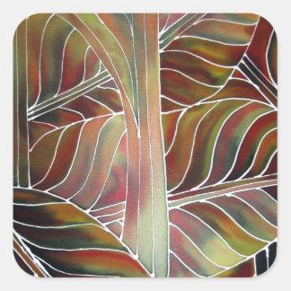緑の葉(および赤、黄色いおよびオレンジ….) スクエアシール