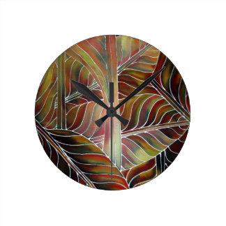 緑の葉(および赤、黄色いおよびオレンジ….) ラウンド壁時計