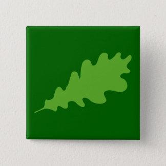緑の葉、オークの木の葉の設計 5.1CM 正方形バッジ