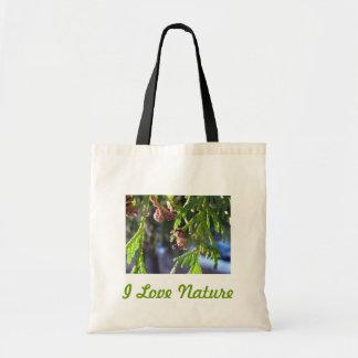 緑の葉、スギ、種 トートバッグ