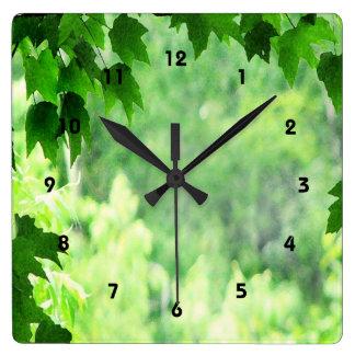 緑の葉 スクエア壁時計