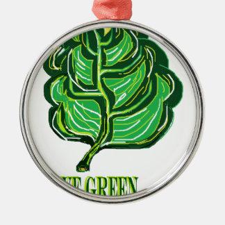 緑の葉 メタルオーナメント