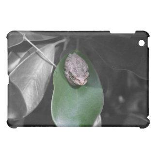 緑の葉bwのカエル iPad mini カバー