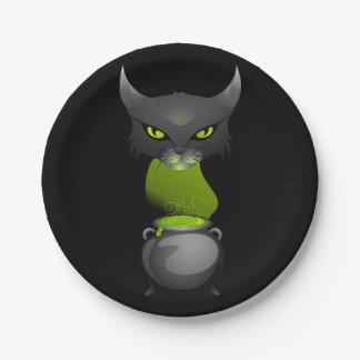 緑の蒸気が付いているハロウィン猫の大がま ペーパープレート