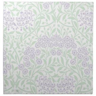 緑の薄紫の花のダマスク織パターン ナプキンクロス