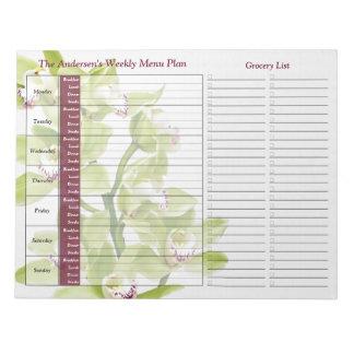緑の蘭の週間名前入りな食事のプランナー ノートパッド