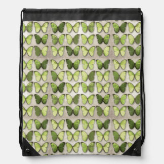 緑の蝶ドローストリングのバックパック ナップサック
