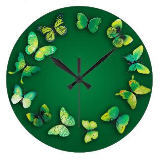 緑の蝶ノベルティの柱時計 ラージ壁時計