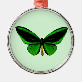 緑の蝶円形のオーナメント メタルオーナメント