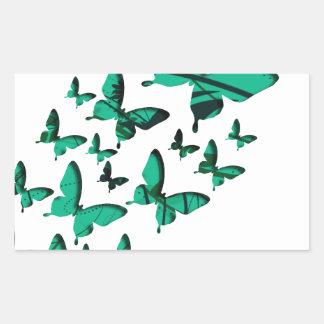 緑の蝶切り出し 長方形シール