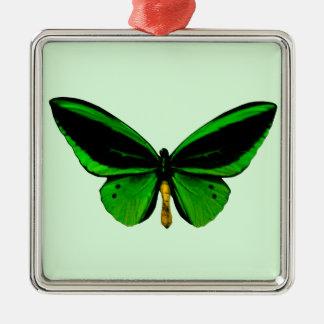 緑の蝶正方形のオーナメント メタルオーナメント