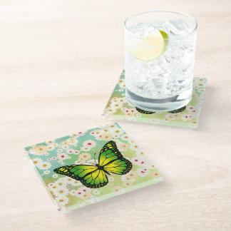 緑の蝶 ガラスコースター
