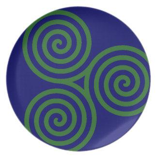 緑の螺線形のコレクション-プレート プレート