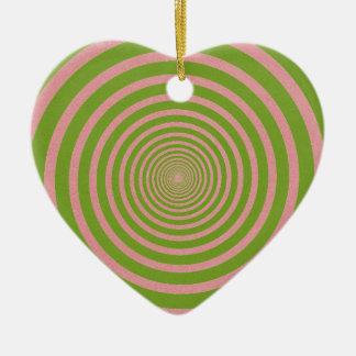 緑の螺線形の目の錯覚 セラミックオーナメント