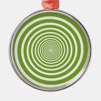 緑の螺線形の目の錯覚 メタルオーナメント