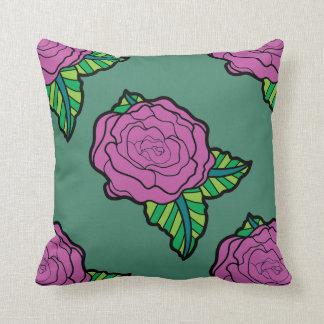 緑の装飾用クッションのピンクのバラ クッション
