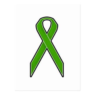 緑の認識度のリボン ポストカード