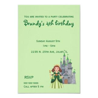 緑の誕生日の小さいプリンセスそして城 8.9 X 12.7 インビテーションカード