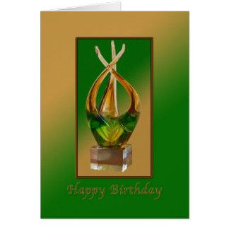 緑の誕生日、ガラス彫刻および茶色 カード