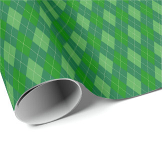 緑の調子のアーガイル柄のな包装紙 ラッピングペーパー