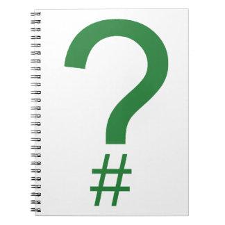 緑の質問ラベルかハッシュマーク ノートブック