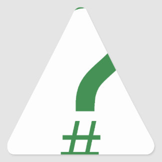 緑の質問ラベルかハッシュマーク 三角形シール