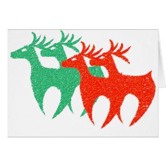 緑の赤いトナカイのクリスマスカード カード