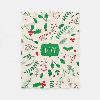 緑の赤いヒイラギの喜びのクリスマスパターン フリースブランケット
