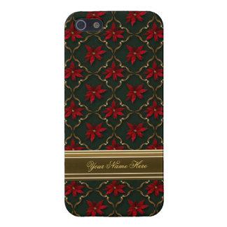緑の赤いポインセチア iPhone 5 ケース