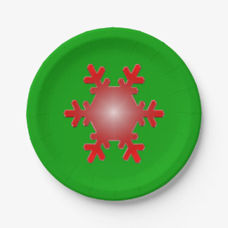 緑の赤い雪片のスターバスト ペーパープレート