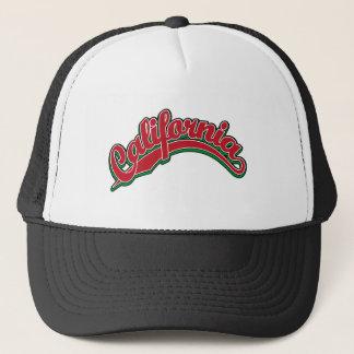 緑の赤のカリフォルニア原稿のロゴ キャップ