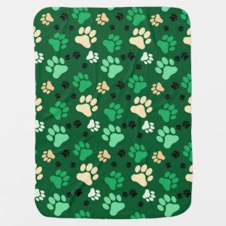 緑の足のプリント犬の木枠毛布 ベビー ブランケット