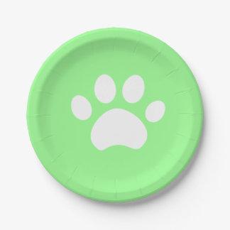 緑の足のプリント4 Purrfect日 ペーパープレート