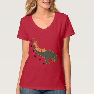 緑の身をかがめったアロサウルスの恐竜 Tシャツ