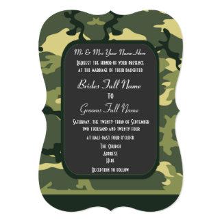 緑の軍のカムフラージュの結婚式 カード