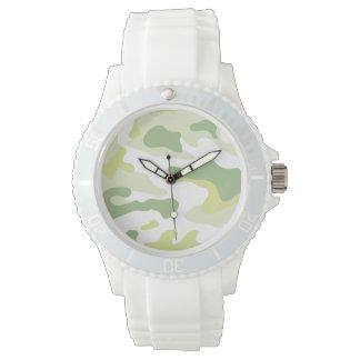 緑の軍隊の白いケイ素の腕時計 腕時計