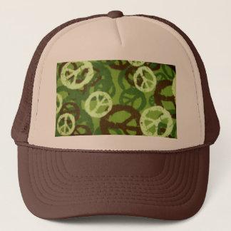 緑の迷彩柄かピースサインの帽子 キャップ