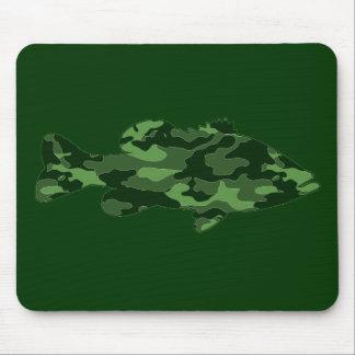 緑の迷彩柄の低音の魚釣り マウスパッド